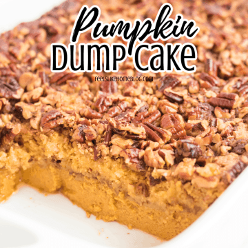 pumpkin crunch cake in a baking dish