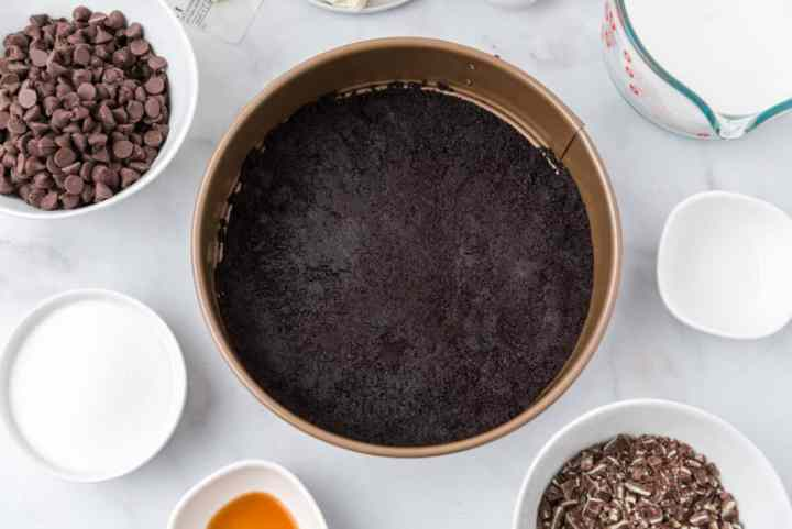 press the Oreo crust into the springform pan