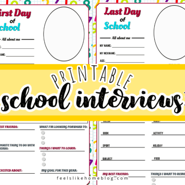 collage of pages from the printable first and last day of school interviews