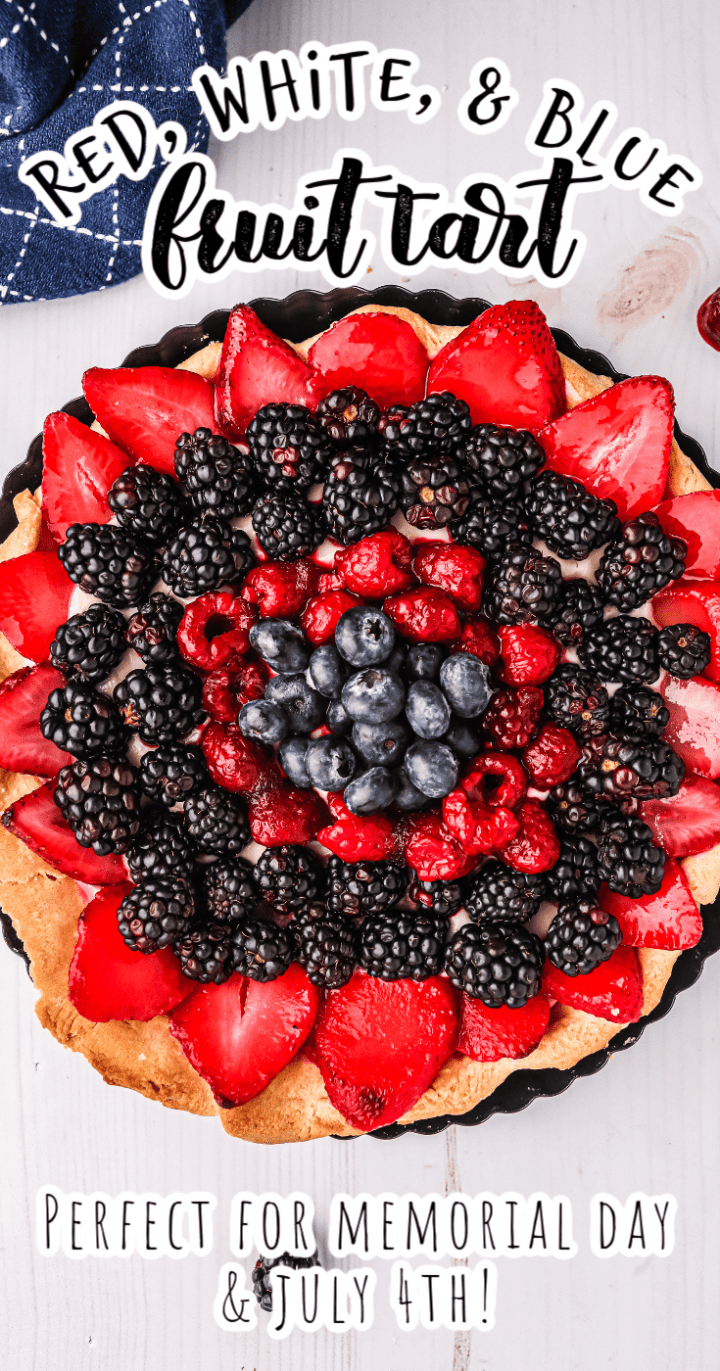 Red, White, and Blue Fruit Tart - Perfect Dessert for Memorial Day and July 4th