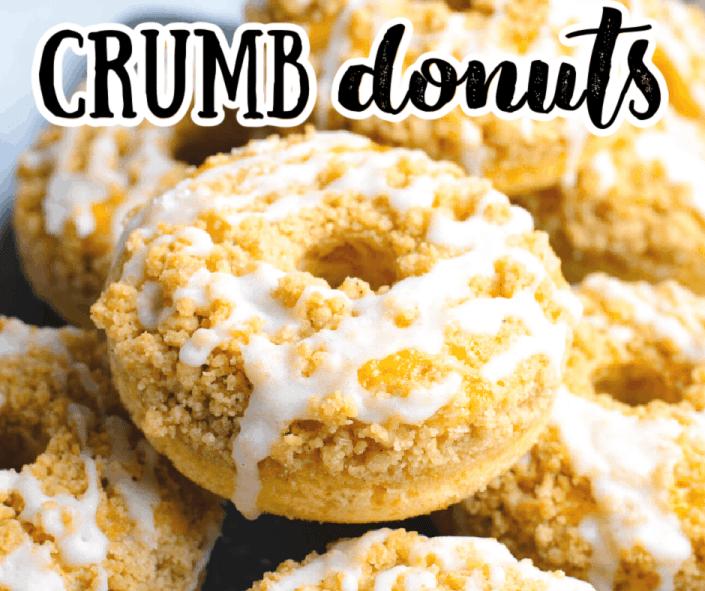 a close up of a crumb donut