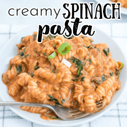 creamy spinach pasta with red sauce on a plate with a fork