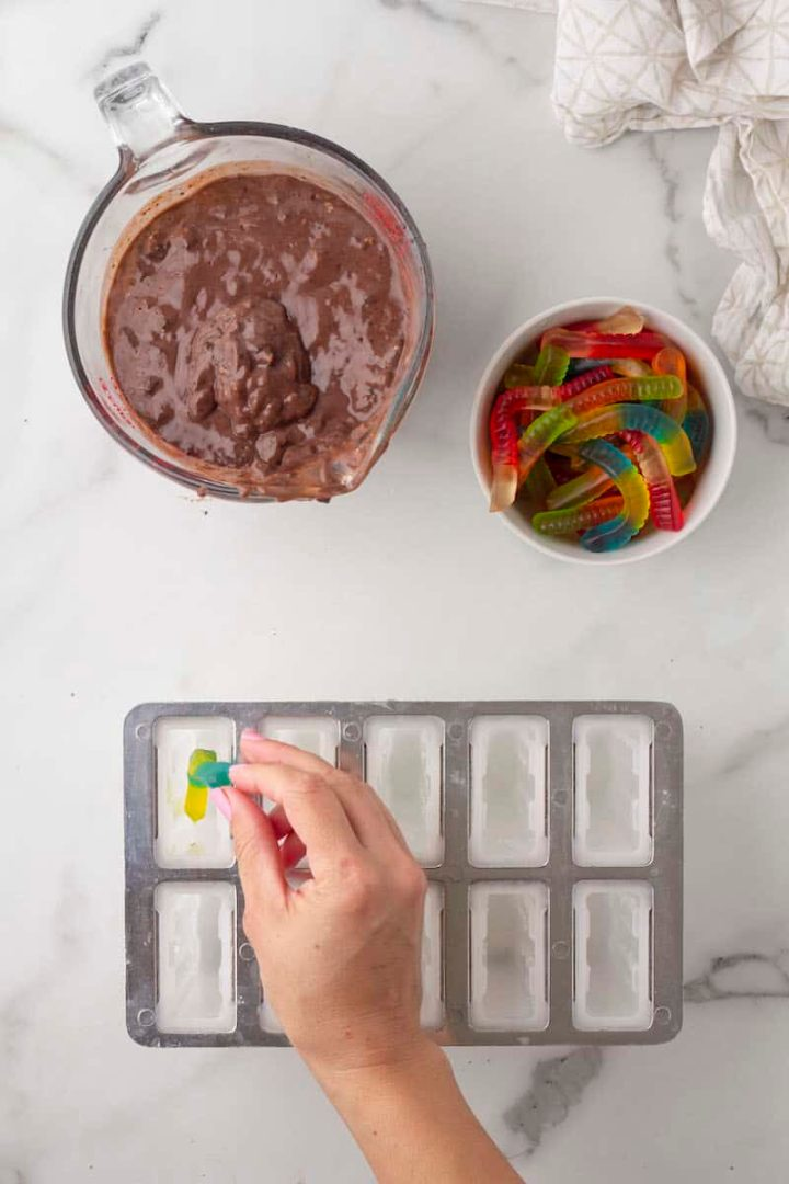 place one worm in each popsicle mold