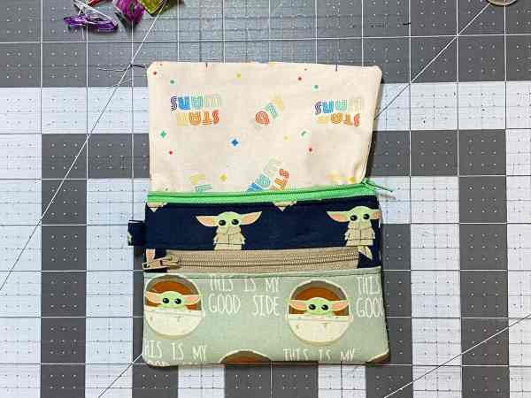 press the whole pouch and lining