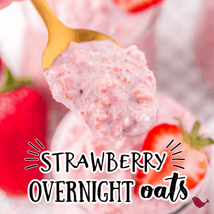 strawberry oats on a spoon