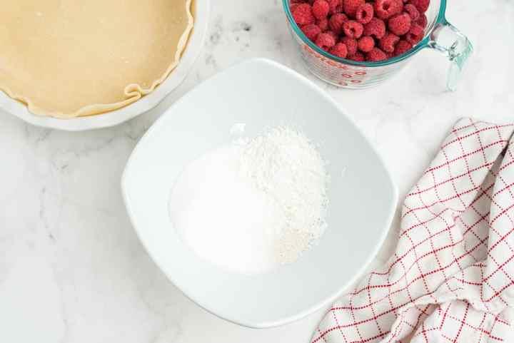 mix together the cornstarch, tapioca, and sugar