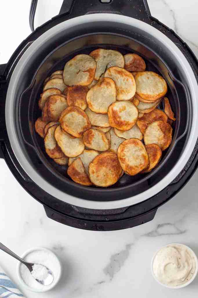 cooked potato chips in the air fryer