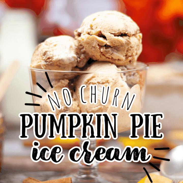 a glass dish with pumpkin pie ice cream