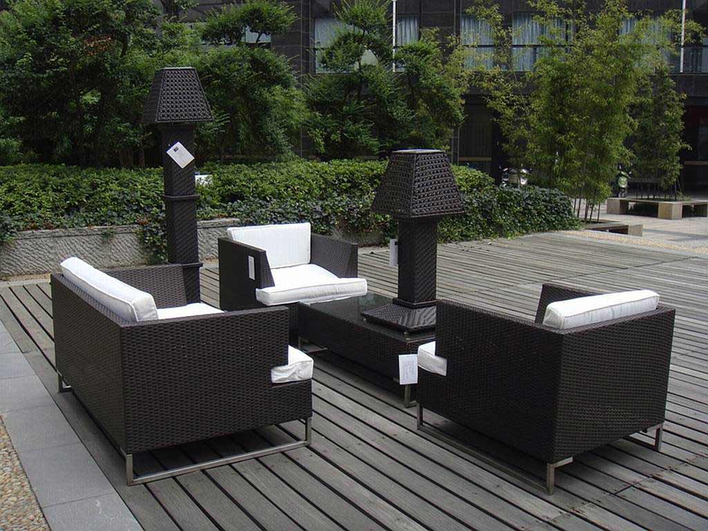 patio couch set outdoor dining sets  eliza modern resin wicker black outdoor patio furniture set