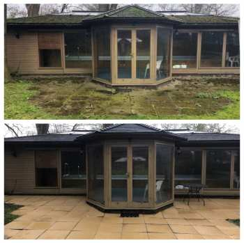 Before and After Pressure Cleaning Patio around Summer house in Richmond, Surrey