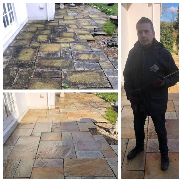 How to remove black spots from patio, patio black spot removal service, reigate
