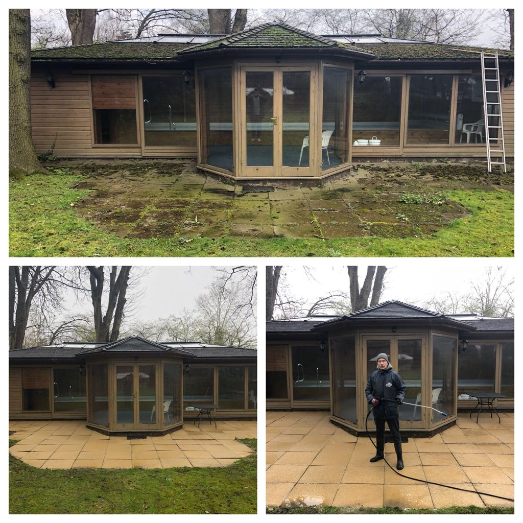 before & after pressure washing pool house roof and patio