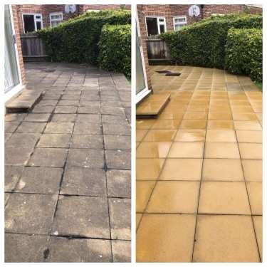 pressure cleaning in a before and after photo shown in Richmond, Surrey