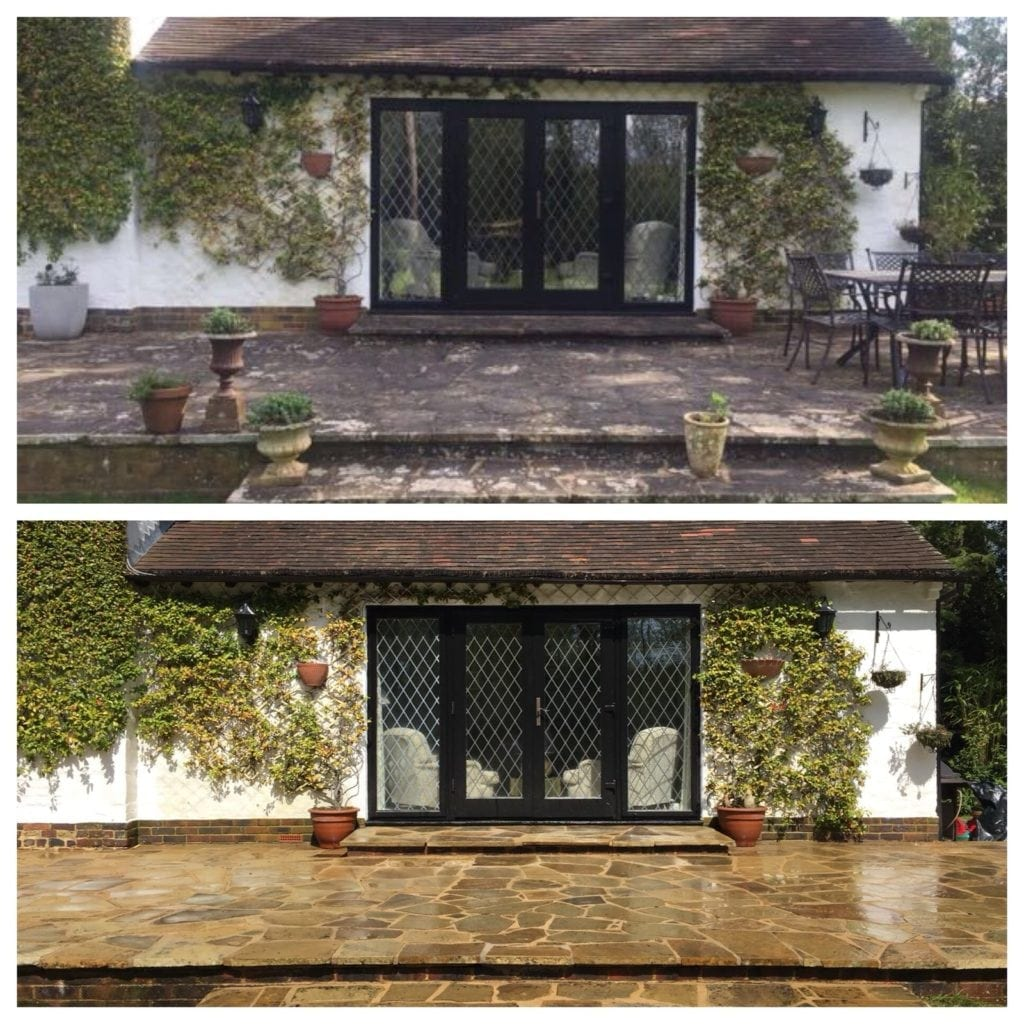 patio cleaning an black spot removal in Richmond, Surrey