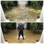 Before and after pressure cleaning front york stone patio on Hamsted house
