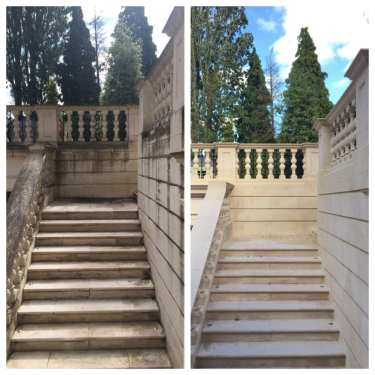 stone cleaning before & after results