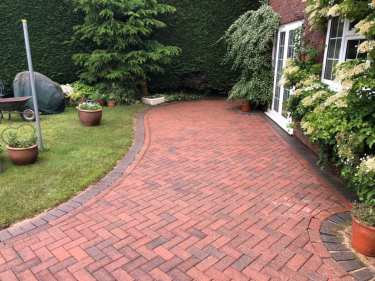red block paving patio black spot removal service, cleaned and restored back to its original state