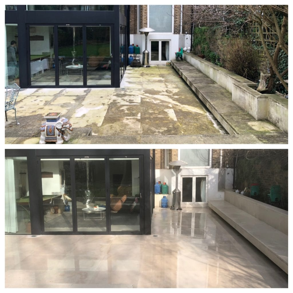 BEFORE & AFTER, PORTLAND STONE PATIO CLEANING SERVICE BELSIZE PARK, LONDON