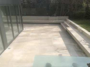 Portland stone patio cleaned by Feel the pressure UK