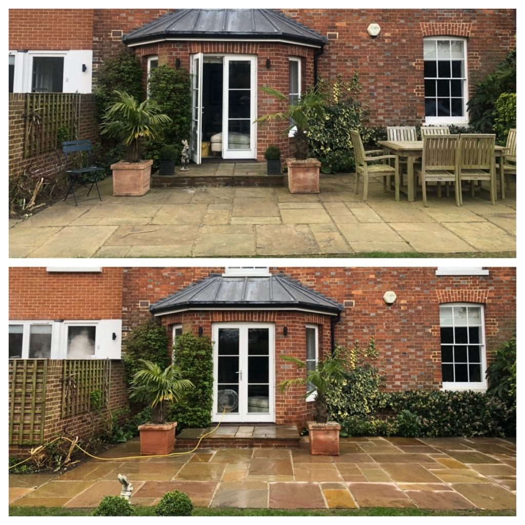 Indian sandstone patio steam cleaning, Tonbridge, KENT