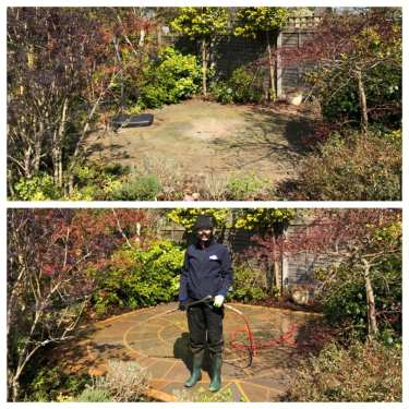before and after natural stone patio steam cleaning service woking, surrey