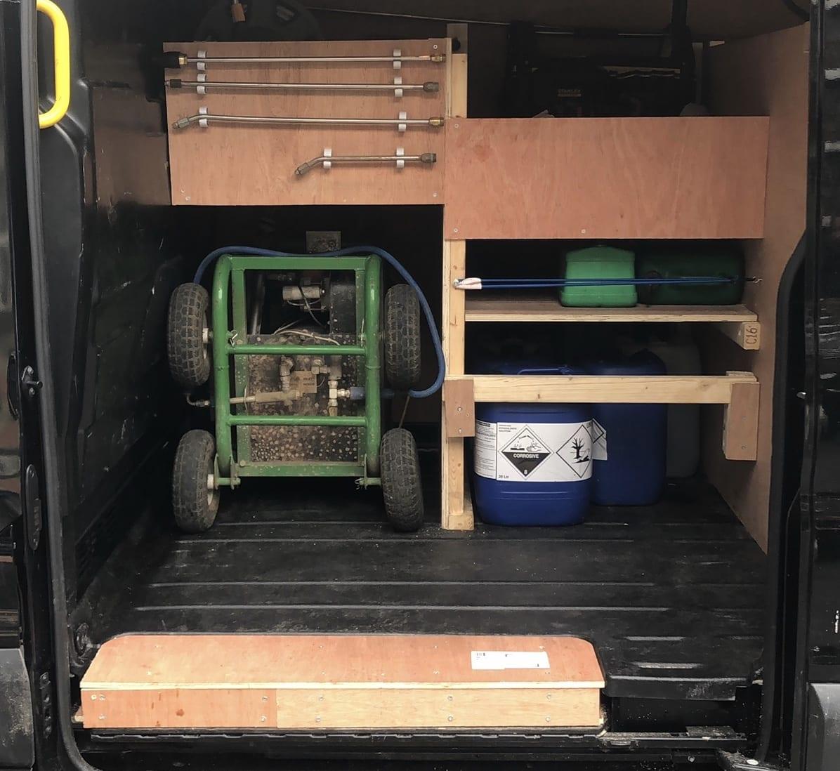 Van packed pressure washing set up