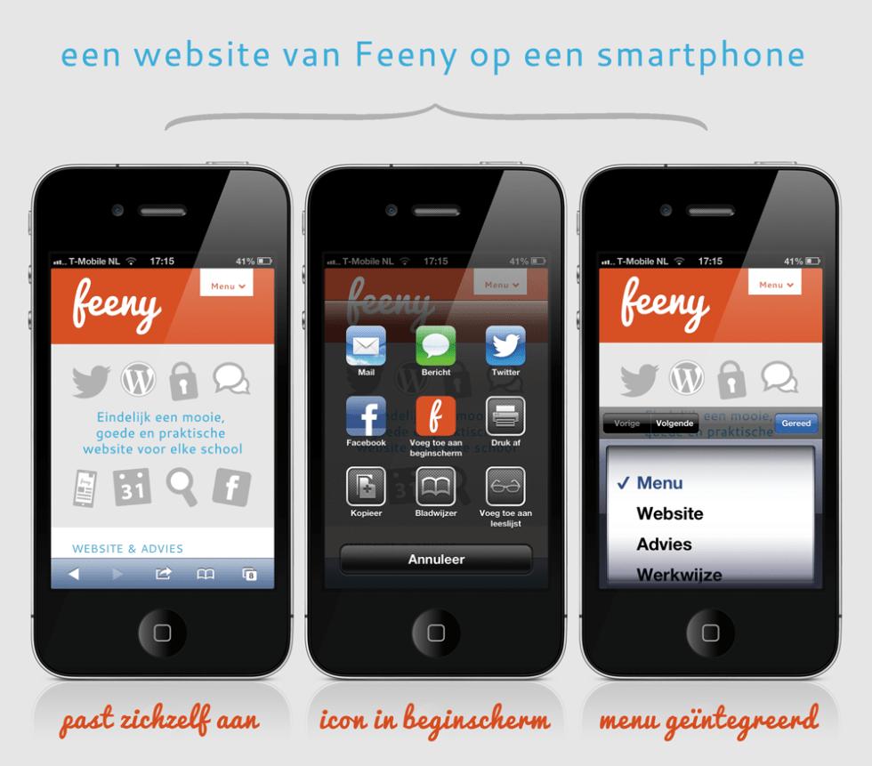 Een website van Feeny op een smartphone