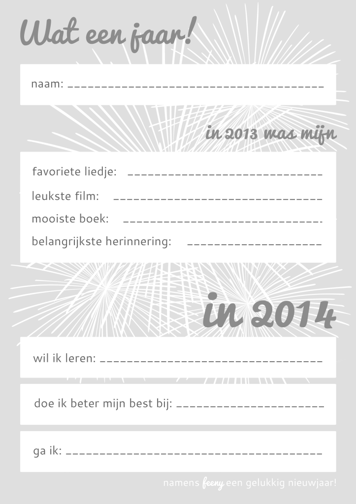 'Goede voornemens voor 2014' werkblad in zwart/wit/grijs