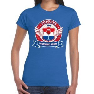 Blauw Toppers drinking team t-shirt dames