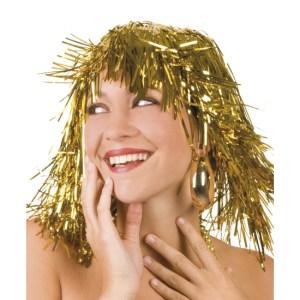 Gouden folie pruik