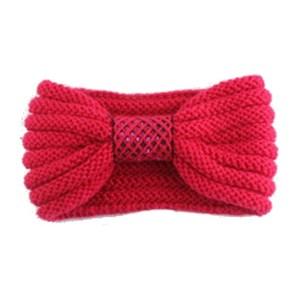Winter gebreide haarband rood met strik voor dames