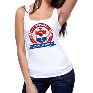 Wit Toppers drinking team tanktop / mouwloos shirt dames