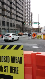 1919 Market - 20th and Market pedestrian crossing closed to construction