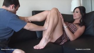 Horny Mistress And Her Pretty Feet Sucked For Good