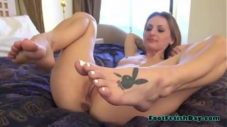 Naughty Slut With Playboy Tatto On Her Feet Playing Solo