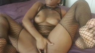 Black Girl Wearing Fishnet Playing With Her Pussy And Feet