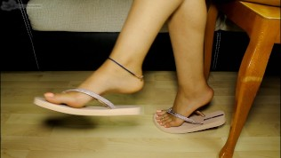Sexy Flip Flop Spied Under The Table