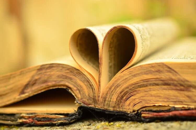 Symbolbild Bibel und Herz: Aufgeschlagene Bibel, Seiten sind in Herzform.