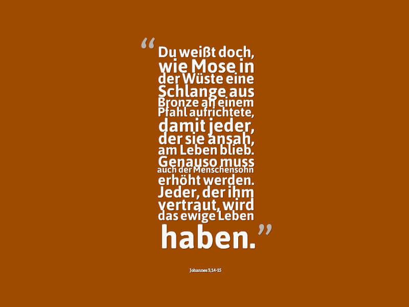 Du weißt doch, wie Mose in der Wüste eine Schlange aus Bronze an einem Pfahl aufrichtete, damit jeder, der sie ansah, am Leben blieb. Genauso muss auch der Menschensohn erhöht werden. Jeder, der ihm vertraut, wird das ewige Leben haben.