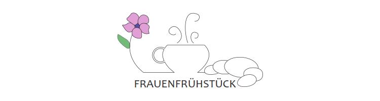 """Stilisierte Blume, Tasse und Croissant über dem Wort """"Frauenfrühstück"""""""
