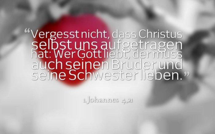 Vergesst nicht, dass Christus selbst uns aufgetragen hat: Wer Gott liebt, der muss auch seinen Bruder und seine Schwester lieben. 1.Johannes 4,21