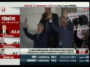 Atambayev, balkonda Tayyip Erdoğan'ın yanında