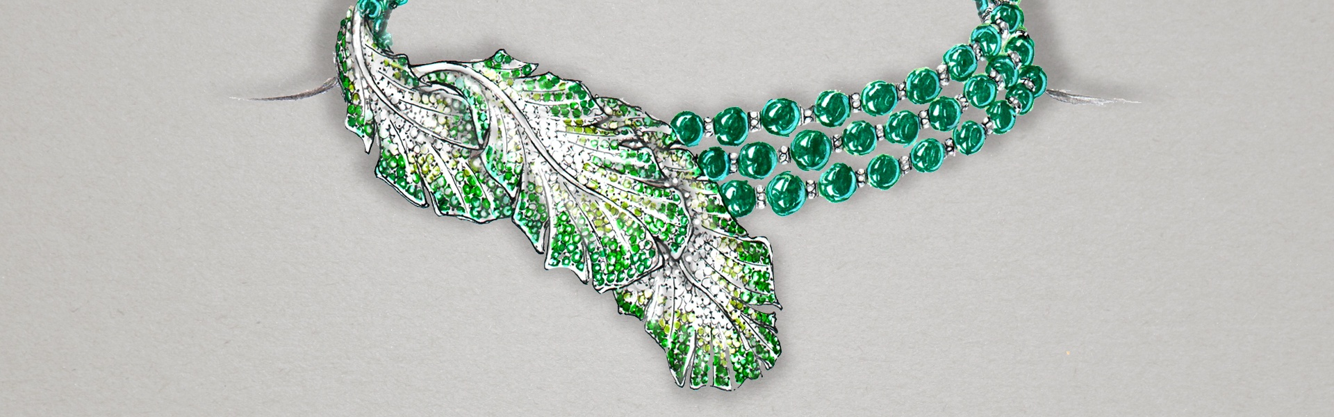 Fei Liu's bespoke Green Tourmaline Feather Neckpiece sketch.