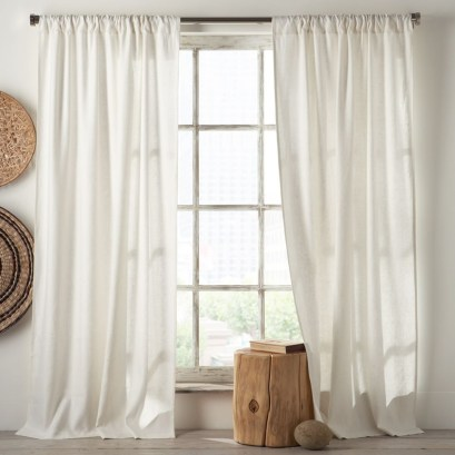Linen cotton window panel in white from £47.00 - West Elm