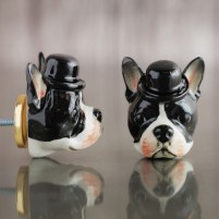 Graham & Green Boston Terrier head ceramic knob