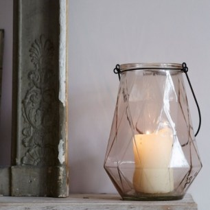 Dusty Pink Diamond Lantern, £16.95 from Graham & Green