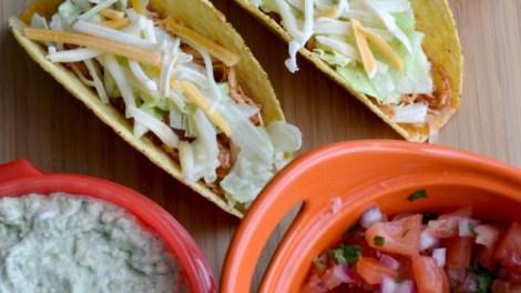 crock pot chicken tacos with guacamole and pico de gallo - full recipe!