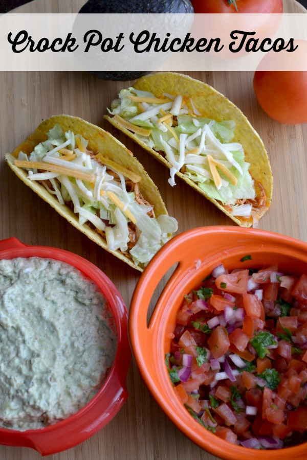 crock pot chicken tacos with guacamole and pico de gallo - full recipe!