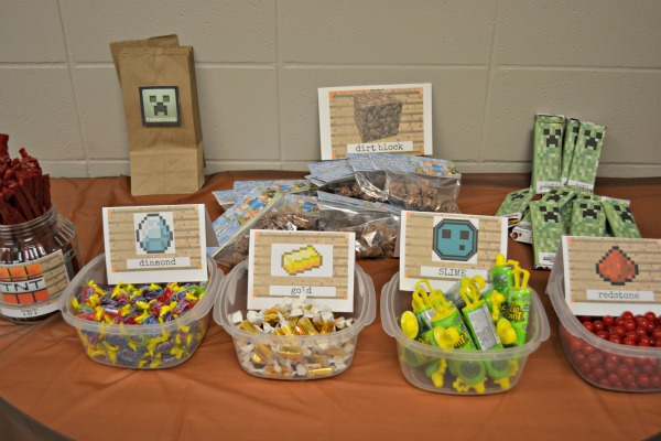 Minecraft birthday party candy buffet