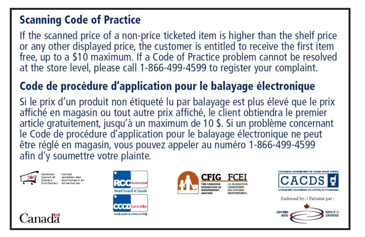 scanning code of practice sticker